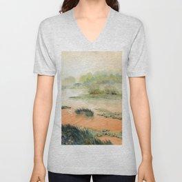 Egret On The Marsh Unisex V-Neck