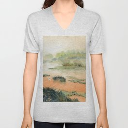 Egret On The Marsh Unisex V-Neck