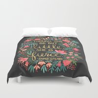 shakespeare Duvet Covers featuring Little & Fierce on Charcoal by Cat Coquillette