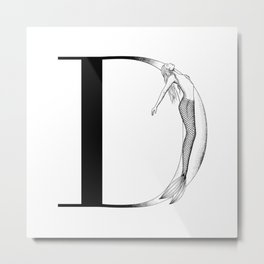 Mermaid Alphabet Series - D Metal Print