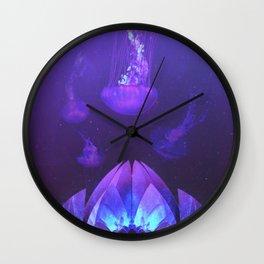 Purple Lotus and Jellyfish Wall Clock