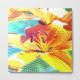 Orange Lilies with Texture 02 Metal Print