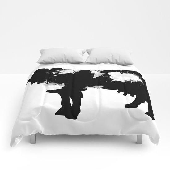 Cow Black and White brush paint splash Comforters