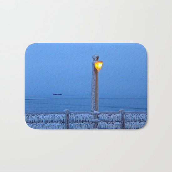 Frosted Light and Ship Bath Mat