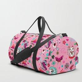 Lucky Cat Maneki Neko , Dragons and Koi fish On Pink Duffle Bag