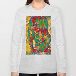 3334s-SRC Abstract Woman with Blue Eyes Rendered in Color and Style Long Sleeve T-shirt
