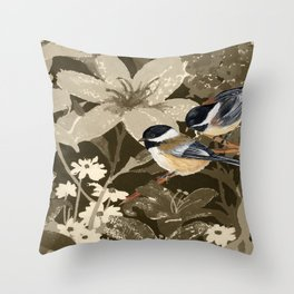 Bird-Chickadees with Lillies Throw Pillow