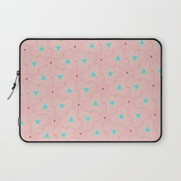80's pretty in pink w/ turquoise triangles & green leaves Laptop Sleeve
