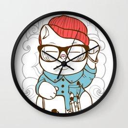 Hipster Kitty Wall Clock