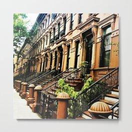 Harlem Brownstones on a summer's day Metal Print