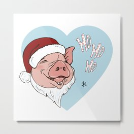 Pig in Santa costume Metal Print