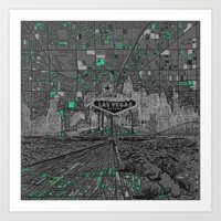 las vegas Art Prints featuring las vegas by Bekim ART