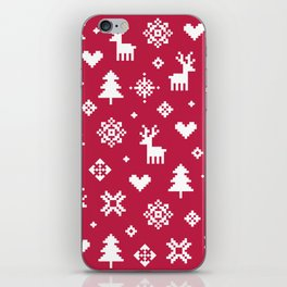 PIXEL PATTERN - WINTER FOREST RED iPhone Skin