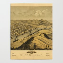 Bird's Eye View of Grand Haven, Michigan (1868) Poster