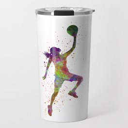 Young woman basketball player 02 in watercolor Travel Mug