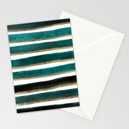 Modern hand painted emerald turquoise watercolor stripes gold geometric pattern Stationery Cards
