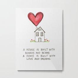 Home Watercolor Metal Print