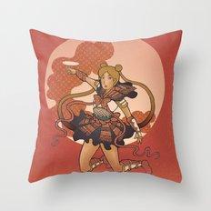 Samurai Moon Throw Pillow