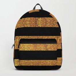 Black and Golden Glitter Vintage Large Stripes Backpack