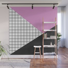 Geometry: black, pink and squres Wall Mural