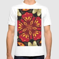 Tropical Flowers And Butterflies Mandala Mens Fitted Tee MEDIUM White