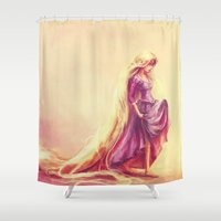 tv Shower Curtains featuring Gilded by Alice X. Zhang