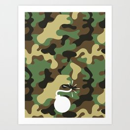 CAMO & WHITE BOMB DIGGITY Art Print
