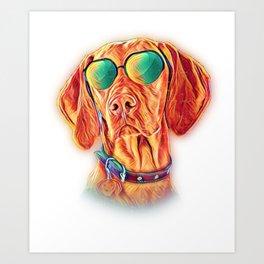 Vizsla Neon Dog Sunglasses Art Print