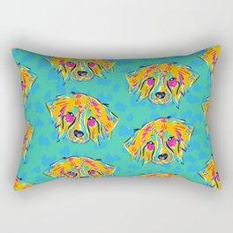 Bright Dog Pattern   Blue Rectangular Pillow