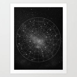 Constellation Star Map (B&W) Art Print