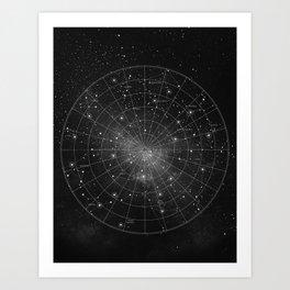 Constellation Star Map (B&W) Art Print