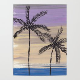 two palm trees euphoric sky Poster
