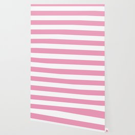 Amaranth pink - solid color - white stripes pattern Wallpaper