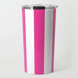 Rose bonbon pink - solid color - white vertical lines pattern Travel Mug