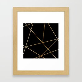 Geometric black gold Framed Art Print