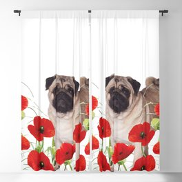 Pug - Poppies Field Blackout Curtain