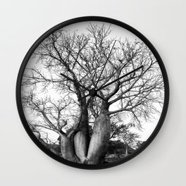 Boab Family in black and white Wall Clock