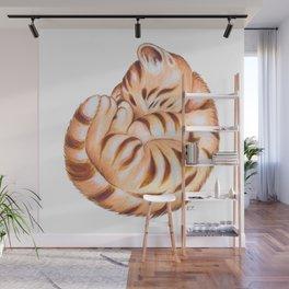 Cute Ginger Tabby Fur Ball Wall Mural
