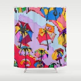 Rainbow Brollies Shower Curtain