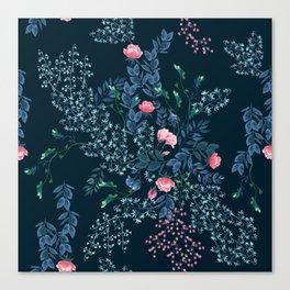 Floral - Blue & Pink Canvas Print