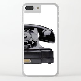 Old black telephone, middle of 20th century, aged and scuffed Clear iPhone Case