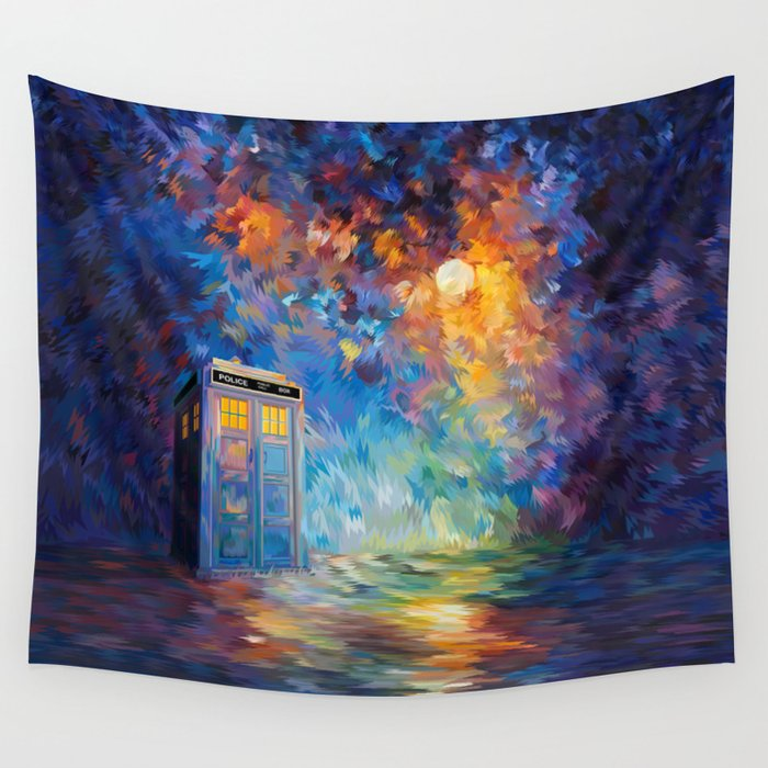 Tardis Doctor Who Rainbow Abstract Wall Tapestry