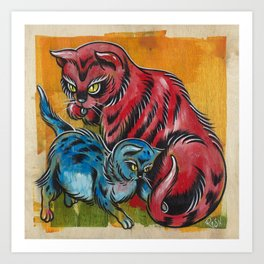 Blue and Red Cats Art Print