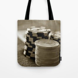 Casino Chips Stacks-B&W Tote Bag
