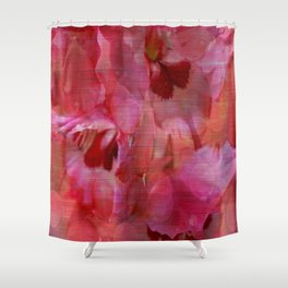 Vintage Pink Gladiola Abstract Shower Curtain