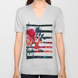 Bohemian pink orange blue black watercolor stripes floral Unisex V-Neck