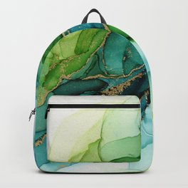 Green Blue Gold Abstract Ink Painting Backpack