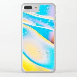 Yellow Blue Viscous Liquid Clear iPhone Case