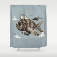 aviation Shower Curtains featuring The Fleet by littleclyde