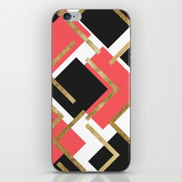 Chic Coral Pink Black and Gold Square Geometric iPhone Skin